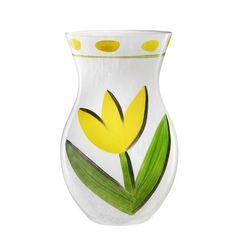 Kosta Boda Tulipa Glass Vase Yellow Designed by friend, Swedish artist Ulrica Hydman Vallien |  House of Beccaria#