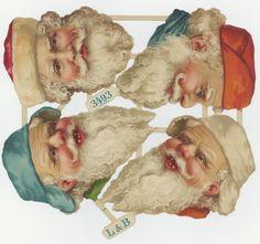 originaler uralt L&B Oblaten Bogen 4x Weihnachtsmann Nikolaus Kopf santa scraps | eBay