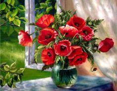 """Картина по номерам""""Маки на окне""""Жанны Когай"""