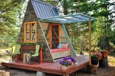 A Frame Cabin, A Frame House, Montana Living, Outdoor Toilet, Guest Cabin, Wood Shed, Tiny Cabins, Kabine, Pergola Shade