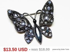 Blue Rhinestone Butterfly Brooch - Black Winged Insect Bug - 1928 Jewelry Company - Designer Signed, Garden Bugs - Vintage Cottage Chic