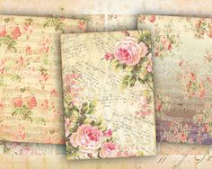 Vintage roses Shabby flowers Pink greeting cards on Digital collage sheet made by FrezeArt
