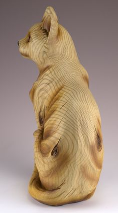 Cat Figurine Faux Carved Wood Look – Honey Brook House Wood Carving Patterns, Carving Designs, Art Carved, Carved Wood, Soapstone Carving, Whittling Wood, Wooden Figurines, Statues, Tree Carving