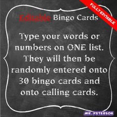 Editable Bingo Cards - SUPER EASY. You type your words on ONE list, and it will do everything else for you! It could be used for sight words, spelling words, vocabulary, words, numbers, math terms, anything!