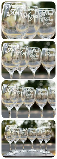 How gorgeous are these bridesmaid glasses?  Hand-engraved and personalized!   #weddings #engaged #bridal