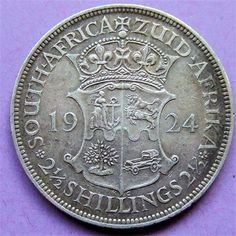 South Africa, King George V, silver Halfcrown 1924 VF Hindu Art, Rare Coins, King George, Antique Shops, South Africa, Statue, Personalized Items, Antiques, Silver
