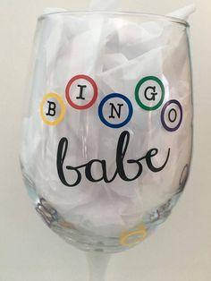 Bingo Babe Wine Glass - Bingo Beer Glass - Bingo Wine Glass - Perfect Bingo gift for the Bingo Lover by WoodenSpoonCrafts on Etsy Bingo Party, Custom Cups, Paint Party, Custom Items, Wine Glass, Bingo Night, Tumblers, Beer, 41st Birthday