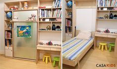 """Murphy Bed for Kids by Casa Kids- folds into a cabinet only 12"""" deep!"""
