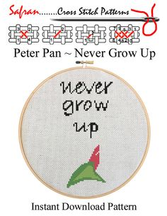 PETER PAN ~ Never Grow Up ~ Home Decor Counted Cross Stitch Pattern pdf - Plus Free Bonuses - Instant Download