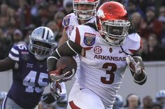 Arkansas running back Alex Collins ran 185 yards and three touchdowns during the…