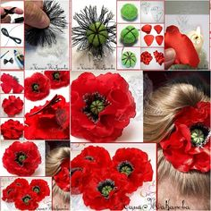 How to Make Hot Red Fabric Kanzashi Poppy Flower