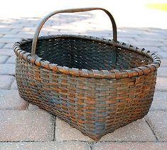 Shaker Antique Basket with Original Blue Milk Paint Scarce Fancy Fruit ~♥~