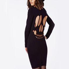 Hodoyi Women Fashion New Autumn Halloween Cut Out Crew Neck Black Backless Skeleton Print Midi Dress Slim Bodycon Pencil Dress