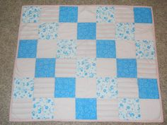 Girl baby quilt blue and pink .  Measures 35 by SewingBoxTreasures, $60.00