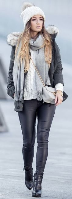 #winter #fashion knit layers + leather otros100 autfits de invierno para inspirarte