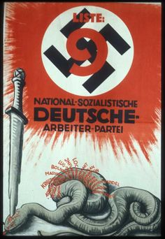 This vivid poster from the September 1930 Reichstag election summarizes National-Socialist ideology in a single image. A Nazi sword kills a snake, the blade passing through a red Star of David. The red words coming from the snake are: usury, Versailles, unemployment, war guilt lie, Marxism, Bolshevism, lies and betrayal, inflation, Locarno, Dawes Pact, Young Plan, corruption, Barmat, Kutistker, Sklarek [the last three Jews involved in major financial scandals], prostitution, terror, civil…