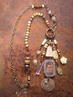 Ancient Traveler Amulet Necklace by Maggie Zee Tribal Jewelry, Metal Jewelry, Boho Jewelry, Custom Jewelry, Pendant Jewelry, Beaded Jewelry, Jewelery, Unique Jewelry, Vintage Jewelry