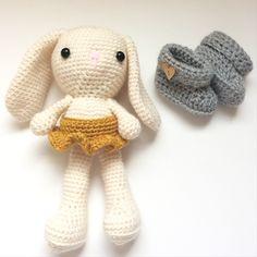 Handmade crochet bunny and baby booties. Etsy shop: DiorLauryn
