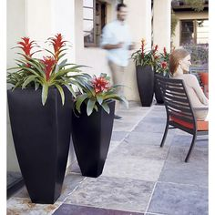 """Bronze 33.75"""" Tall Tapered Planter in Garden & Patio   Crate and Barrel"""