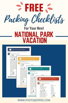 Wondering what to pack when visiting a US National Park? We've got a comprehensive list to help! You may not need every item on the national park checklists depending on your type of travel, things you will do, or time of year you visit. Make modifications to the national park packing lists as needed. Free Download Checklists! #nationalparks #packinglist #packingchecklist #photojeepers Packing Checklist, Packing Tips For Travel, Packing Lists, Canyonlands National Park, Yellowstone National Park, Enjoy Your Vacation, Us National Parks, What To Pack, Adventure Is Out There