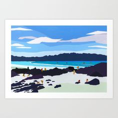"Art print of my original gouache painting ""Rocky shore"" Wall Prints, Fine Art Prints, Feather Illustration, Feather Drawing, Rocky Shore, Painted Sticks, Native American Fashion, Indigenous Art, Gouache Painting"