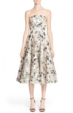 Alexander McQueen Floral Print Strapless Fit & Flare Dress available at #Nordstrom