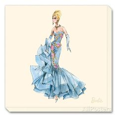 Barbie?, Blue Dres Stretched Canvas Print By Robert Best - 12x12 | eBay