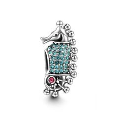 Blue Sea Horse Charm 925 Sterling Silver