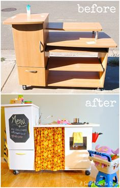 DIY Play Kitchen from an old desk.  aswellplacetodwell.com