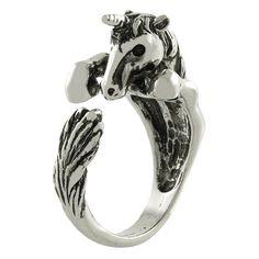 Amazon.com: Unicorn Animal Wrap Ring White Gold-plated Shiny Silver Tone: Jewelry