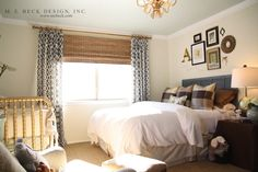 Suzie: M. E. Beck Design - Sweet guest bedroom/nursery design with ivory walls paint color, ...