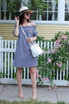 La Mariposa: Off-the-shoulder gingham plaid dress, summer plaid dress, summer gingham dress, gingham