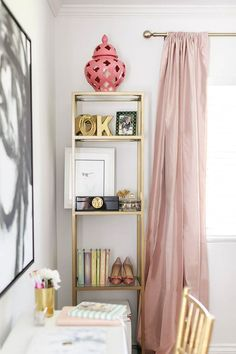 Home decorating ideas - Home office decor with champagne pink and gold accents.