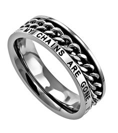 Want! My Chains Are Gone, I've Been Set Free - Amazing Grace Women's Christian Ring,spinning chain, my chains are gone, freedom ring, chains, amazing grace, amazing, chain