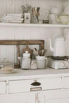 Like the shelves,  mason jars and window frame as decor