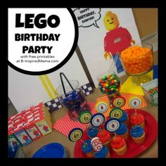 tons of great Lego Party Ideas. jodi you realy should look at this its even got some free printables