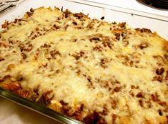 Husband's Delight Recipe: 1 lb ground beef, 1 small onion diced, 2 1/2 cup spaghetti sauce, 1 can mushrooms drained, 1 garlic clove minced, 1 tsp italian seasoning, 12 oz pasta of choice (elbow, rotini or egg noodles), 6 oz cream cheese room temp., 1 cup sour cream, 8 oz mozzarella cheese.