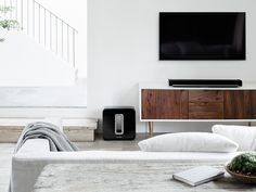 Try the Sonos PLAYBAR and SUB together for a jaw-dropping wireless home theater speaker setup. Sonos Speakers, Sonos Wireless, Software, Audio, Home Theater Speakers, Loft, Home Technology, Interior Stylist, Home Cinemas