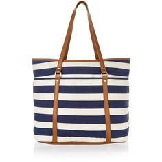 Monsoon Stripe Beach Tote Bag ($44) ❤ liked on Polyvore featuring bags, handbags, tote bags, faux leather tote, white purse, zippered tote bag, zip tote and striped beach tote