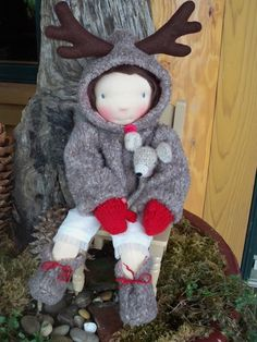 "Waldorf doll Sweet Deer lined Coat, boots and pure wool mittens for a 16"" doll. $42.00, via Etsy."