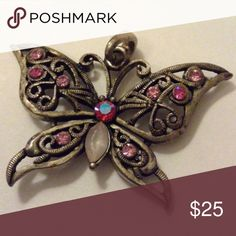 🆕Vintage Brass Rose Pink Stone Butterfly Pendant Approximately 2.25 inches long in good to excellent vintage condition Vintage Jewelry