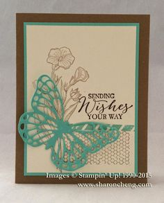 by Sharon: Butterfly Basics and Butterflies Thinlits dies. All supplies from Stampin' Up!