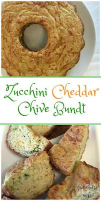 Zucchini Cheddar and Chive Bundt Bread | garden-grown zucchini, fresh chives and cheddar make up this tasty savory bread. #BundtBakers