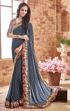 Scintillating Gray Latest Saree with Fashionable Blouse