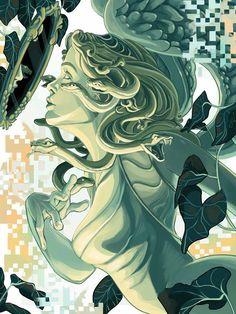 Medusa by Luke Valentine on ArtStation. Medusa Kunst, Medusa Art, Medusa Gorgon, Medusa Tattoo, Medusa Painting, Mythological Creatures, Mythical Creatures, Fantasy Creatures, Angels Blood
