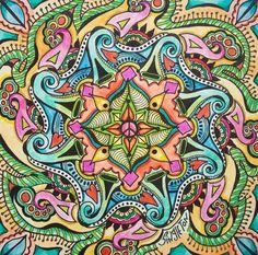 For the Love of Peace, Singleton Hippie Art, Original Mandala