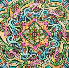 For the Love of Peace, Singleton Hippie Art, Original Mandala
