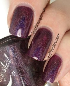 From Celestial Cosmetics: Blitzen's Budgie Smuggler - Deep purple linear holographic