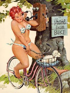 Pin-Up Girl Hilda is on the phone! Creation of illustrator Duane Bryers and pin-up art's best kept secret. Hilda was one of the only atypical plus-sized pin-up queens to grace the pages of American calendars from the up until the early Pin Up Vintage, Vintage Graphic, Vintage Gifts, Vintage Art, Arte Pin Up, Pin Up Girls, Plus Size Blog, Dibujos Pin Up, Retro Vintage
