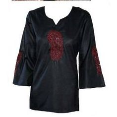 Black Embroidery Top Front